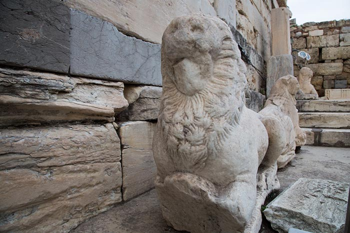 Venetian lions at the Beulé Gate, Athens, Greece