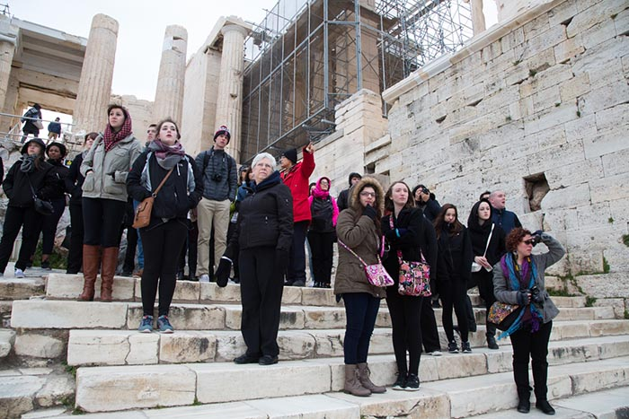 SCSU Choir members at the Acropolis