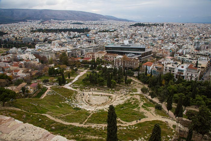 View from the Acropolis in Athens, Greece.