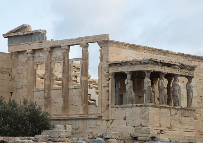 Six figures of the Caryatid Porch of the Erechtheion, Athens, Greece