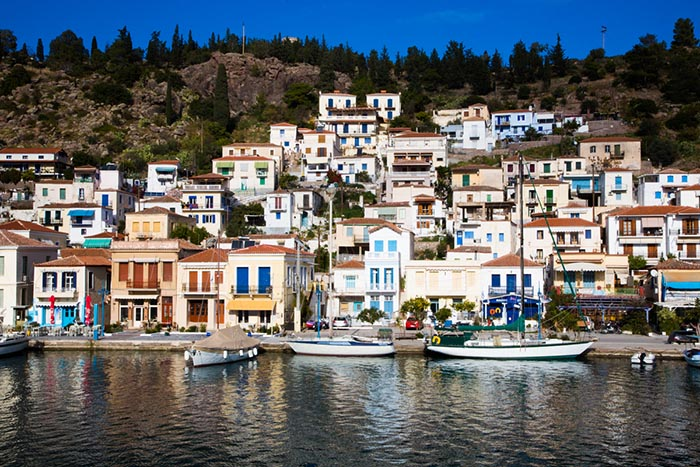Pulling into Poros, Greece