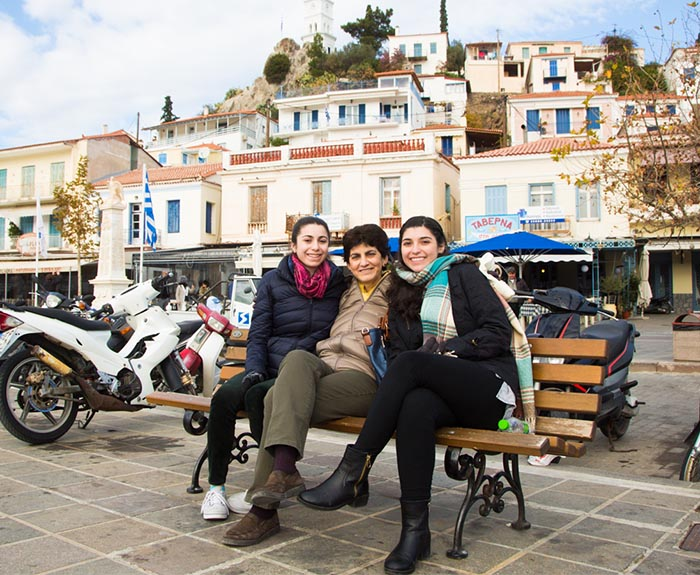 President Papazian with her daughters Marie and Ani in Poros, Greece