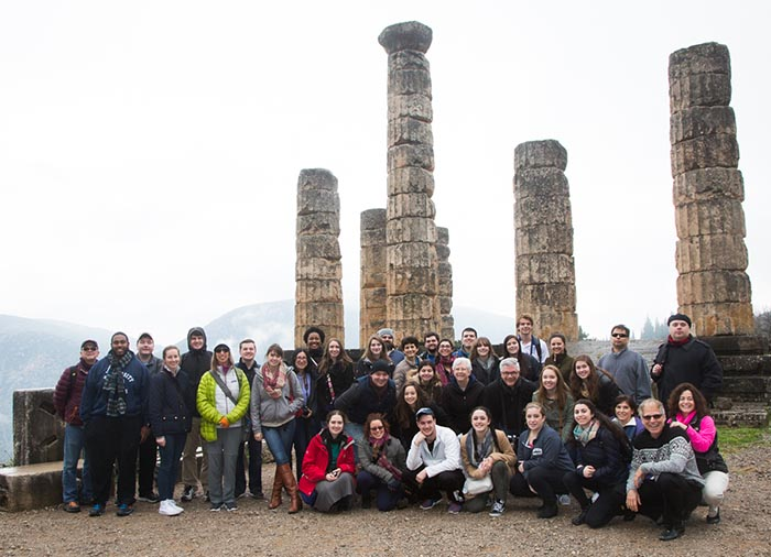 SCSU students and chaperones in Delphi, Greece.