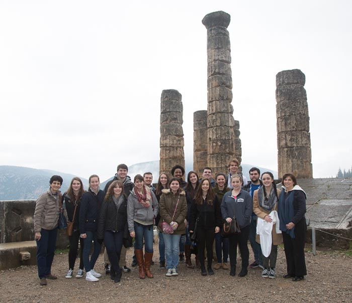 SCSU Honors College students in Delphi, Greece
