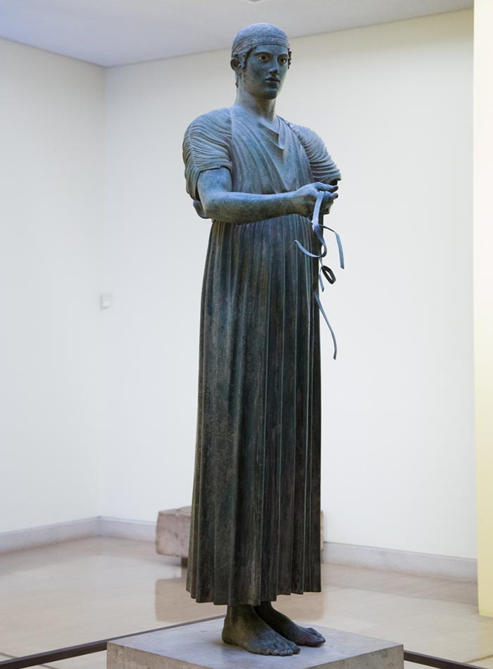 The charioteer of Delphi at the Delphi Museum.