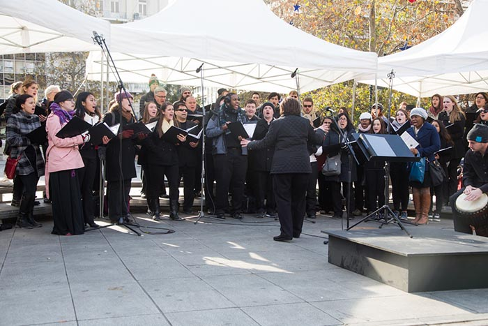 SCSU choir performing at Syntagma Square, Athens, Greece