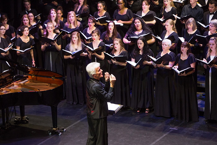 Simon Carrington directs SCSU choir in Athens, Greece.