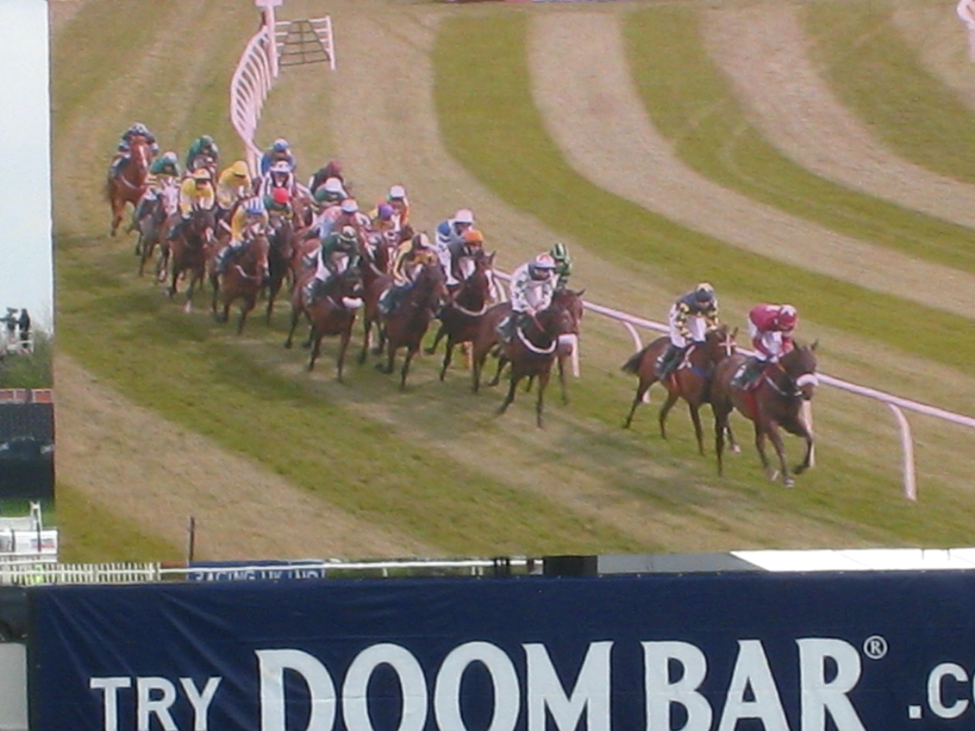 The races are followed on the huge video screens.