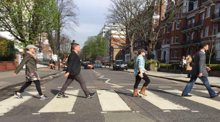 Students walking on Abbey Road