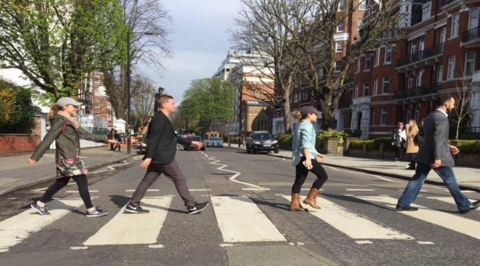 Students walking on Abbey Road