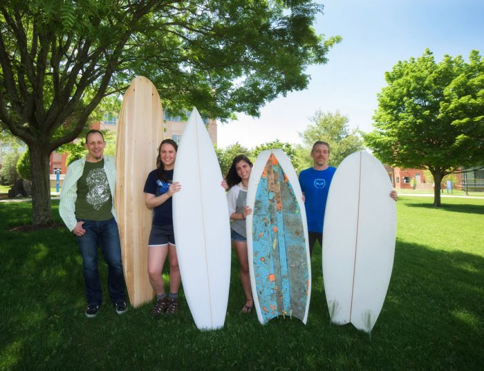 Students building surfboards
