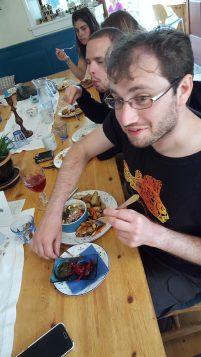 Jacob trying reindeer pie