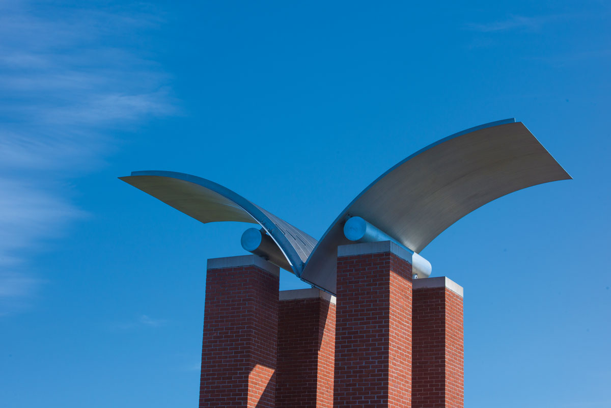 Sculpture on top of Engleman Hall