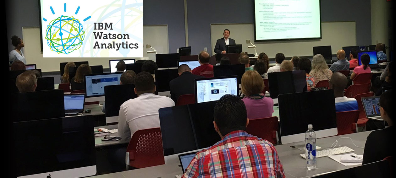 Students and faculty participate in a two-day boot camp on data analytics offered by IBM.