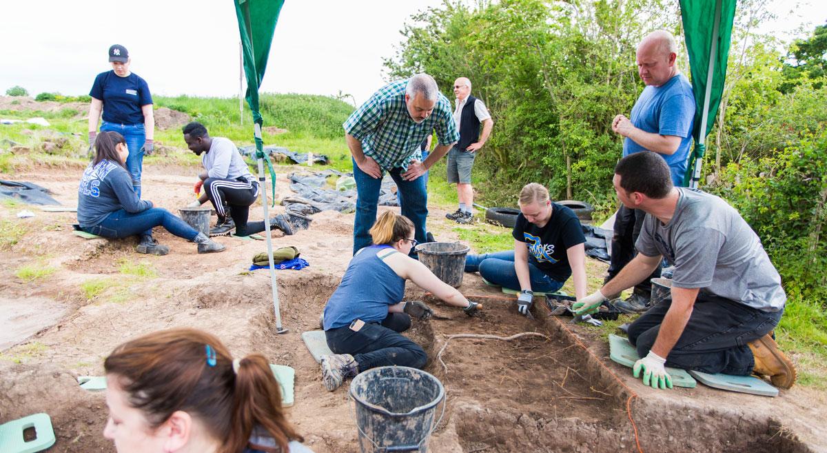 LJMU archeological dig with SCSU President Jo Bertolino and SCSU and LJMU students