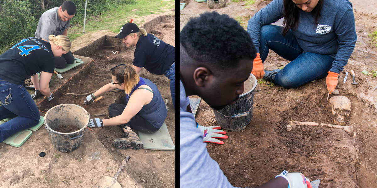 LJMU and SCSU students digging at archeological site in Chester, England