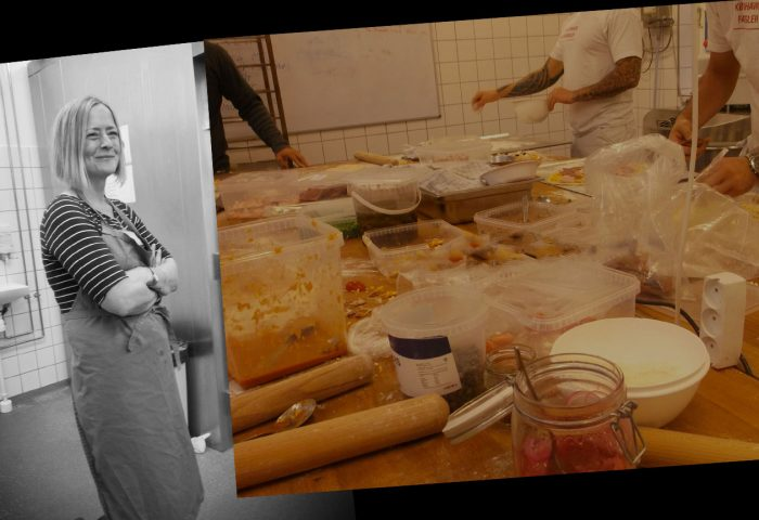 Professor Amy Smoyer and a photo of kitchen staff preparing food