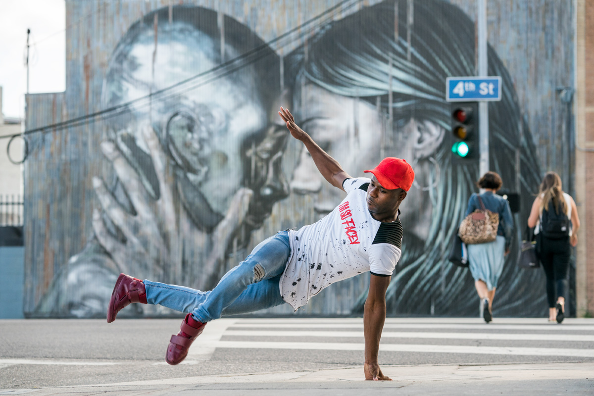 Jason Facey, '14, dancing on the street in LA