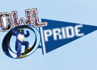 Owl Pride graphic with Otis and banner