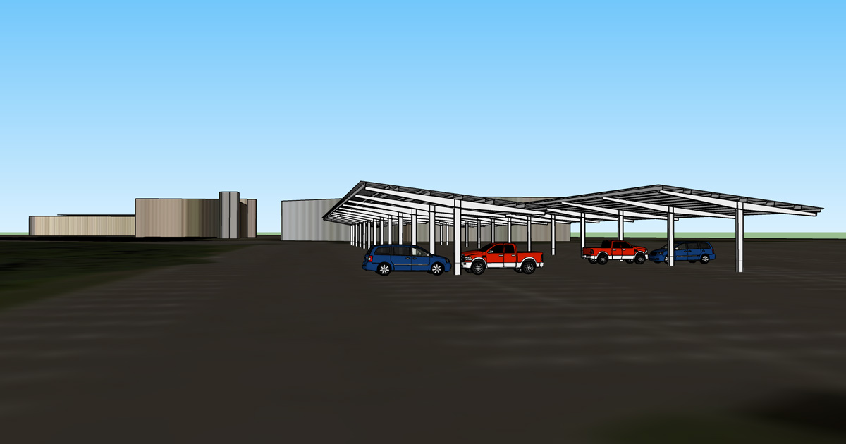 illustration showing solar car port on SCSU campus