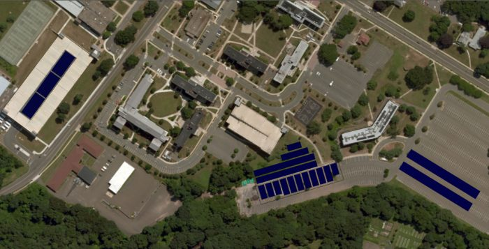 map showing solar panels projected for SCSU campus