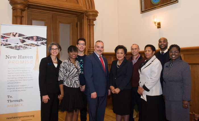 SCSU President Joe Bertolino, New Haven Mayor Toni Harp, and others representing New Haven Promise