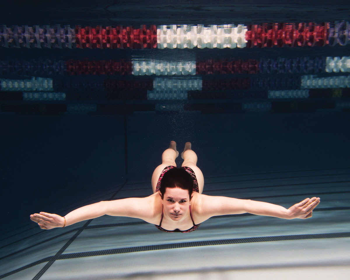 SCSU swimmer Amanda Thomas underwater