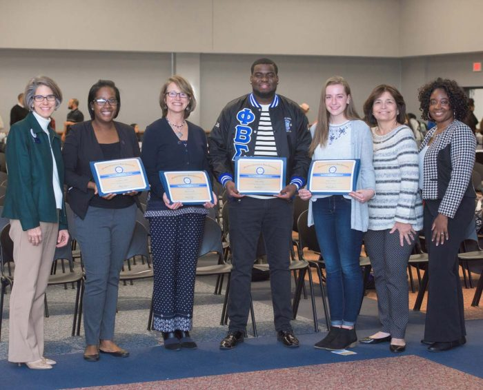Three Top Owl Awards recipients with presenters and Vice President of Student Involvement Tracy Tyree, November 2017