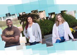 SCSU students Eric Clinton, Tracy Tenesaca, and Alyssa Pearl Korzon