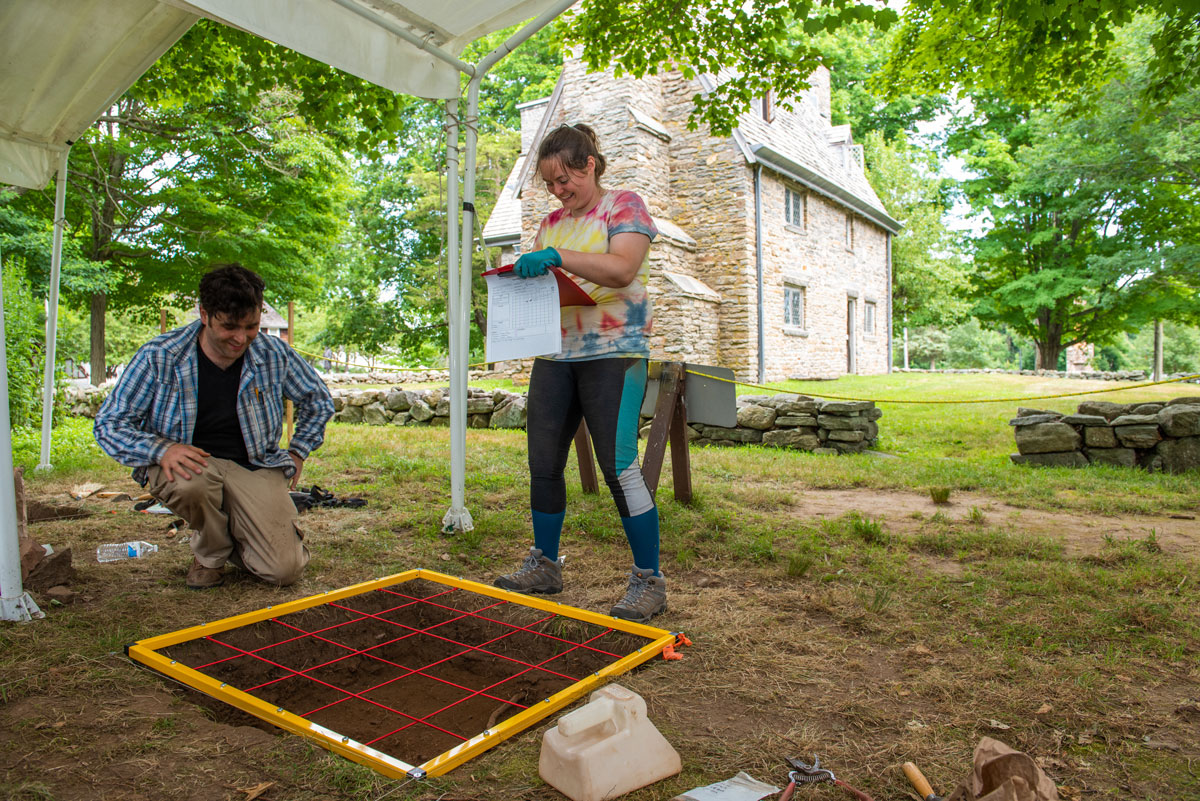 SCSU archeology program, students, excavation at Whitfiield Museum, Guilford, Conn.