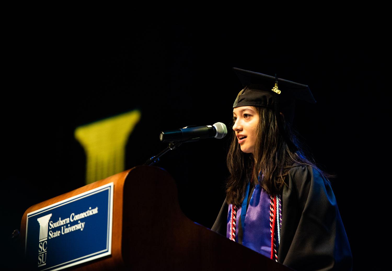 SCSU graduate Megan Baker at Honors Convocation, 2019