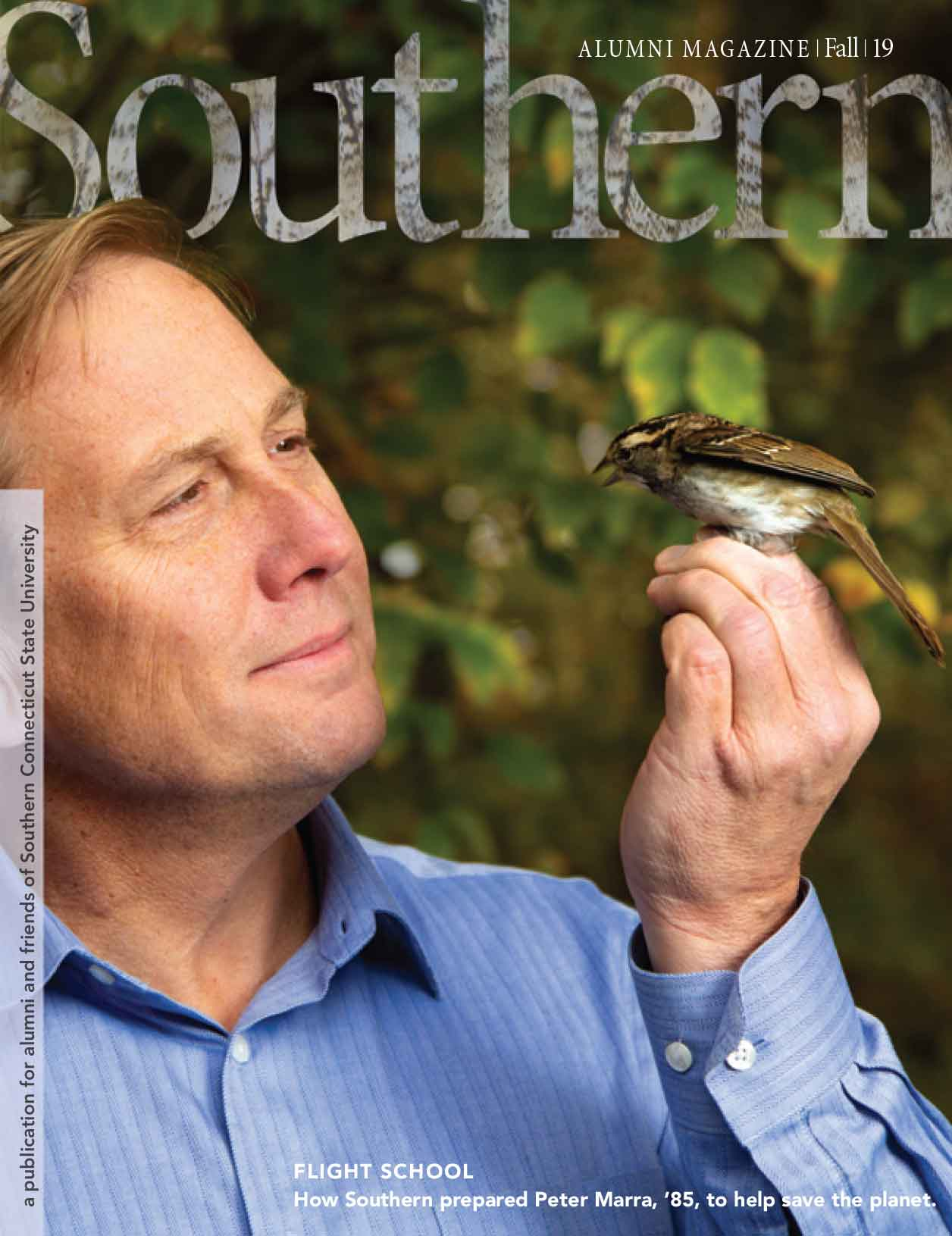 Southern Alumni Magazine cover, Fall 2019, featuring Peter Marra, '85
