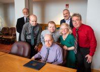 First graduate of 2020 Charles Vaughn with SCSU President Joe Bertolino, Provost Robert Prezant, and Vuaghn family