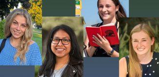 SCSU students Amber Archambault, Melissa Palma Cuapio, Brooke Mercaldi, and Alexis Zhiomi, 2020 Henry Barnard Scholars