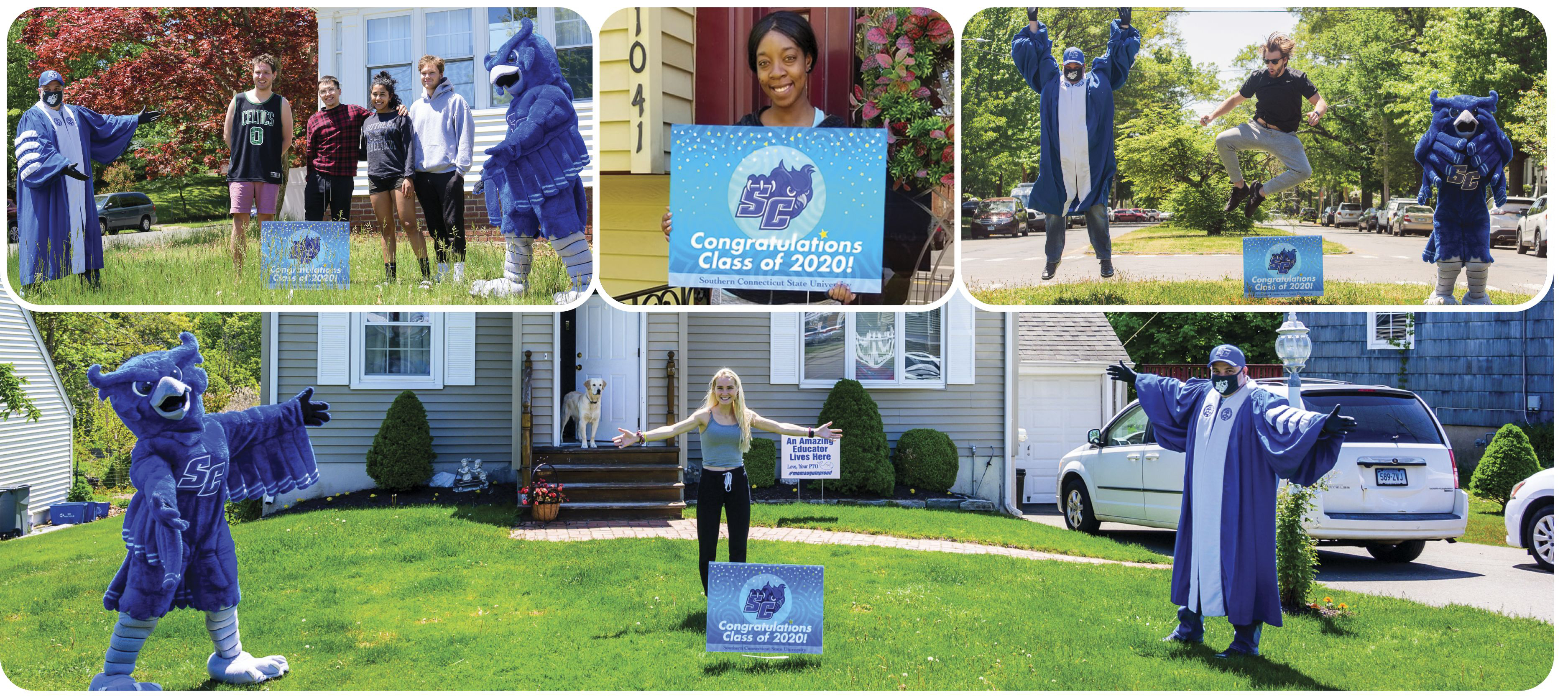 SCSU President Joe Bertolino and volunteers deliver lawn signs to 2020 future graduates