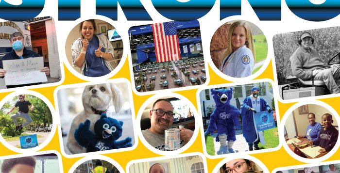 #SouthernStrong graphic with photo collage of SCSU students, faculty, staff, and alumni