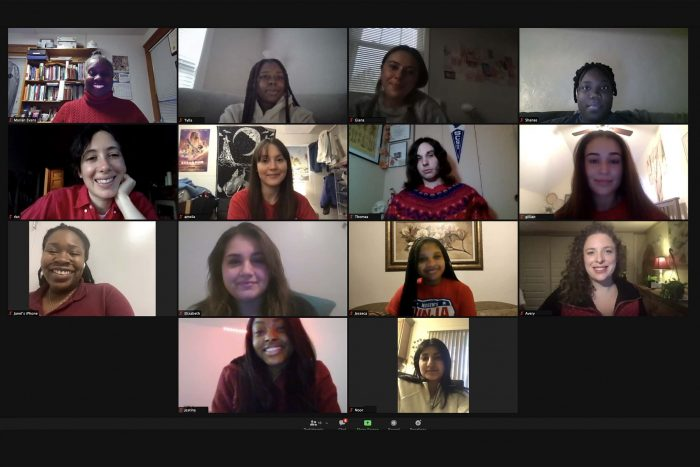 Professor Marian Evans and her Women's Health class meet virtually with author Rachel Kauder Nalebuff.