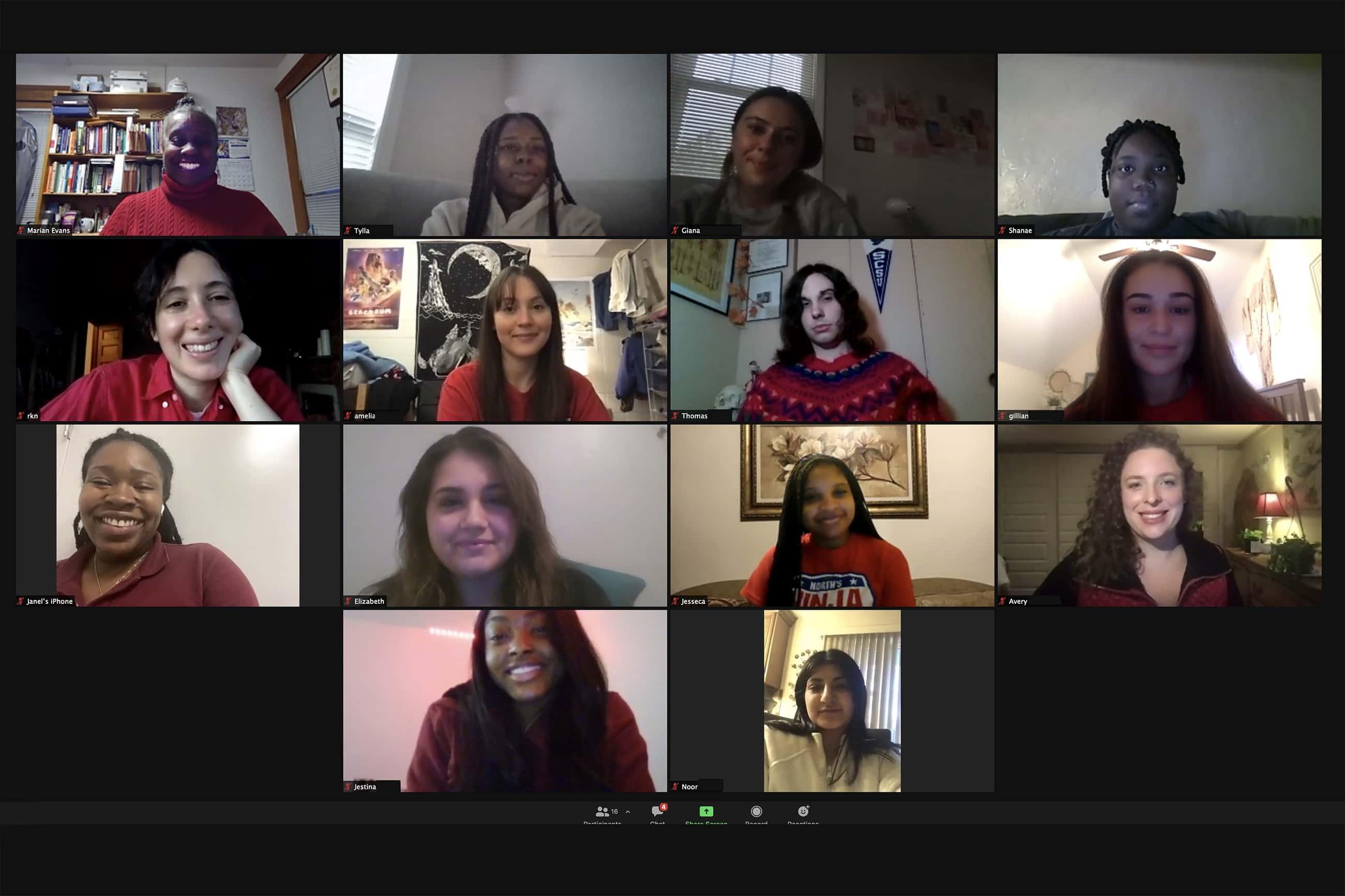 Professor Marian Evans and her Women's Health class meet virtually with author Rachel Kauder Nalebuff.