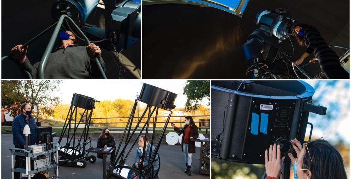 Physics Professor Elliott Horch and students work in the university's observatory