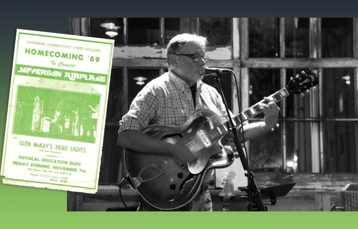 Southern alum Phil Capp playing guitar; poster of Jefferson Airplane from SCSC Homecoming, 1969