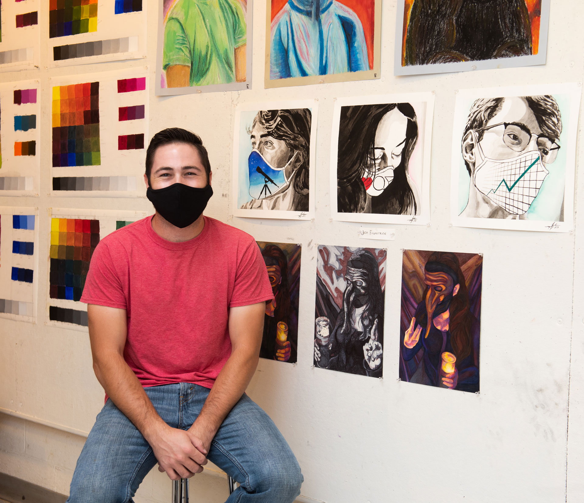portrait of SCSU student artist and class of 2020 graduate Joshua Fitzpatrick with his work