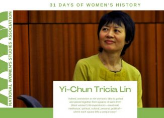 """graphic of Yi-Chun Tricia Lin, director of the Women's and Gender Studies Program, being honored by the National Women's Studies Association's/NWSA as part of its """"31 Days of Women's History Month."""""""