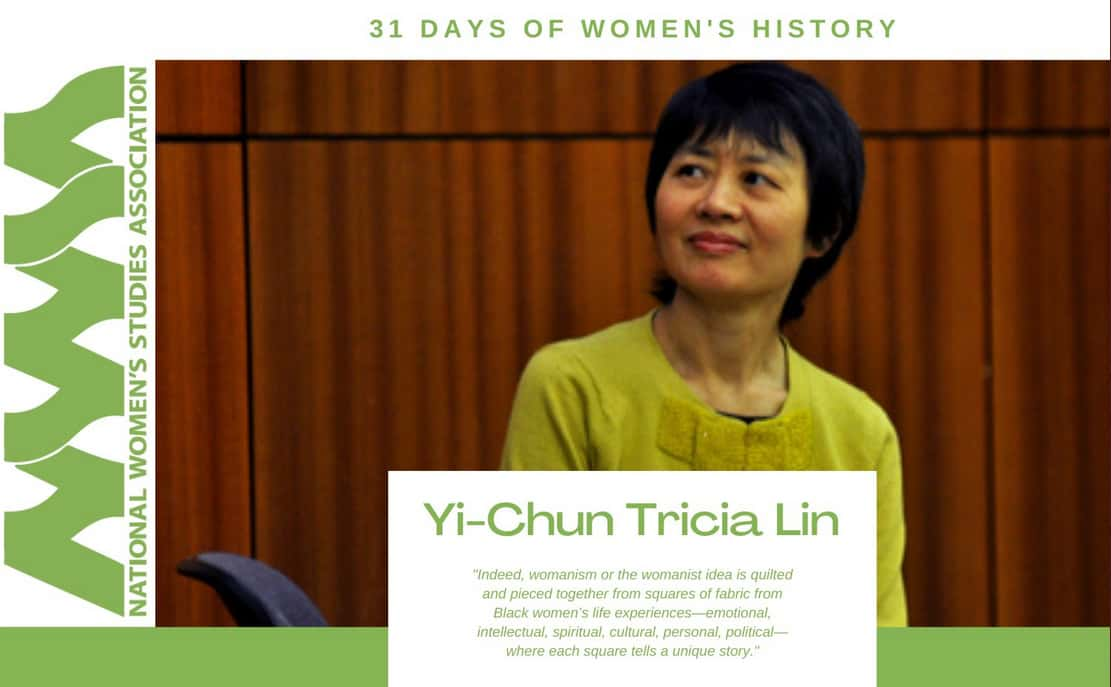 graphic of Yi-Chun Tricia Lin, director of the Women's and Gender Studies Program, being honored by the National Women's Studies Association's/NWSA as part of its