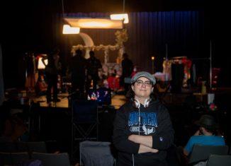 Lisa Marie Tedesco on the set of her film in Lyman Center