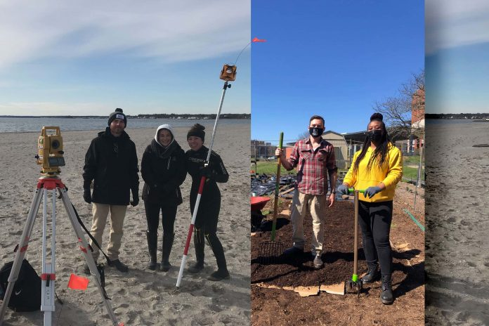 Derek Faulkner with Brooke Mercaldi and Lauren Brideau collecting elevation data at Hammonasset State beach (left) and (right) with Bria Anderson in the campus community garden