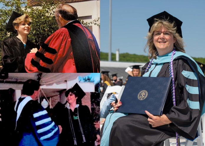3 images depicting Deborah Morrill receiving her B.S. in public health in 1990, her BSN in nursing in 1994, and her Ed.D. in nursing education in 2021
