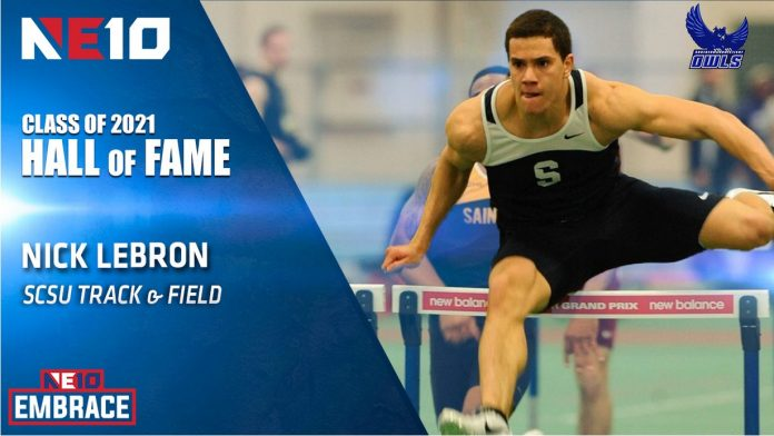 NE10 graphic showing Nick LeBron in a track event