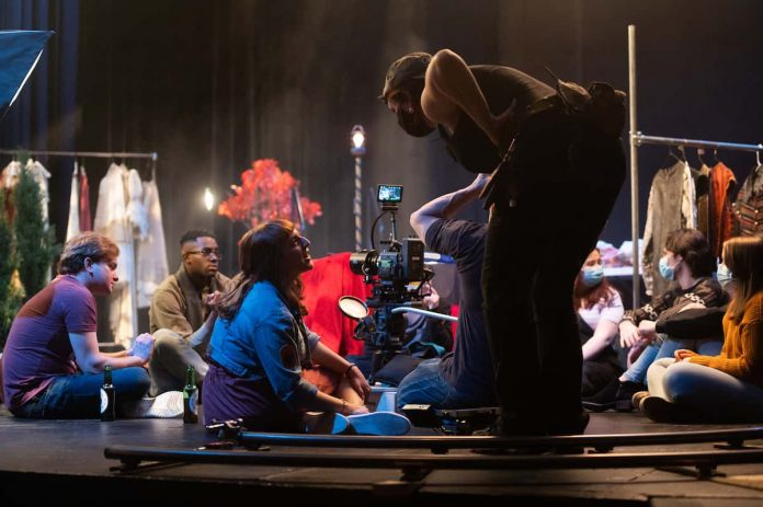 """Cast and crew of """"Spin,"""" on set in Lyman Center"""